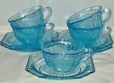 5 Anchor Hocking MAYFAIR/OPEN ROSE BLUE *CUPS & SAUCERS*