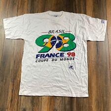 Vintage 90's Brazil 1998 France World Cup Football White FIFA Soccer Tee Sz XL