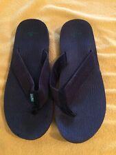 Sanuk Men's Size 12 Flip Flops Sandals Shoes Black With Green Logo
