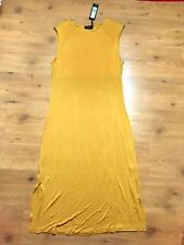 M&S Autograph Stretch Split Hem Sleeveless Mustard Midi Dress S:14 BNWT