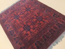 4 11 X 6 3 Red Navy Blue Kunduz Afghan Oriental Area Rug Hand Knotted Wool