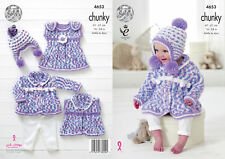 Chunky Knit Knitting Pattern King Cole Baby Coat Dress Waistcoat & Hat Set 4653