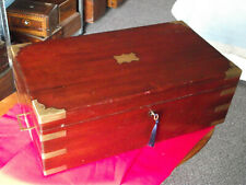 More details for large mahogany campaign writing slope with side drawer and secret compartments