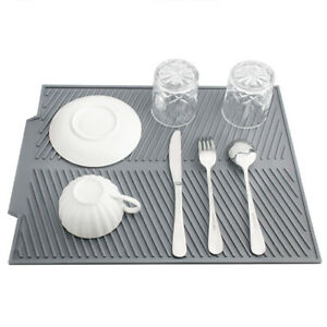 Silicone Dish Drying Mat  Drainer Mat Protection Heat Resistant Counter Top Mat