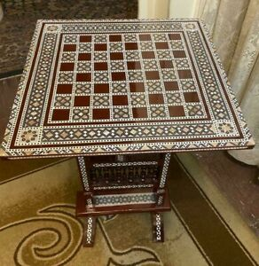 """Antique Chess Table Inlaid Mother of Pearl 16"""""""