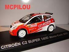 NOREV CITROEN C2 SUPER 1600 N°35 MONTE CARLO 2005 au 1/43°