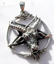 Sterling Silver (925)  Pentagram  With  Horned  Beast  Pendant   !!    New !!