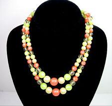 "Double Strand ORANGE GREEN YELLOW Round Bead Thermoset Necklace Vintage 17"""