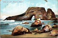 Vintage 1909 Jump Off Joe Rock Formation in Newport Oregon OR Postcard