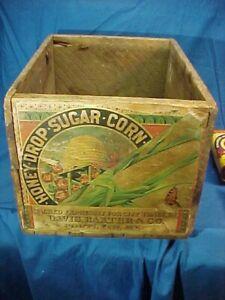 19thc HONEY DROP SUGAR CORN Wood ADVERTISING Shipping BOX w Orig PAPER LABEL