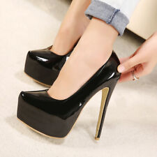Platform Stilettos Women's Sexy Patent Leather Slip On 8Cm High Heels Nightclub