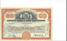 Utilities Power & Light Corporation.1931 Class A Stock Certificate