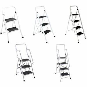 Step Ladder 2 3 4 Folding Grip Non Slip Tread Mat Handrail Multipurpose Home DIY