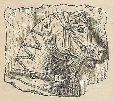 A4302 Altorilievo trovato in Ninive - Incisione - Stampa Antica del 1887