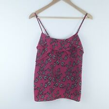 OASIS Ladies Red Butterfly Print Cami Top Adjustable Straps Ruffle Front Size 10