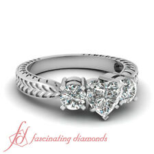 2.20 Carat Diamond Engagement With Heart And Round 3 Stone Ring GIA