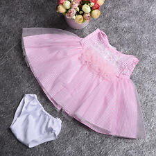 """Pink Lace Flower Stripes Mesh Dress +Briefs Clothes for 18"""" American Girl Doll"""