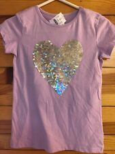 NWT Crewcuts Sequin Heart Shirt Girls Purple Shimmer Top Size 12