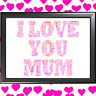 I LOVE YOU MUM WORD ART CLOUD Personalised Mother's day present for Mum or Mam,