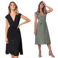 Women Summer Casual Dresses Boho Solid Color Sleeveless V Neck Dress ButtonY1X7