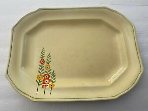 Taylor Smith Taylor TST60 Yellow Red Flowers Stems Leaves - OVAL SERVING PLATTER