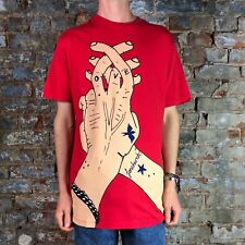 Fenchurch Mens Fingers Short Sleeve T-Shirt in Red in Size M,L