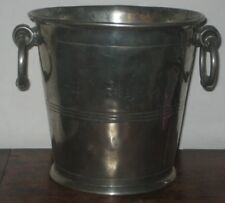 CONTINENTAL CHAMPAGNE ICE BUCKET SILVERED PEWTER 19TH CENTURY country house look