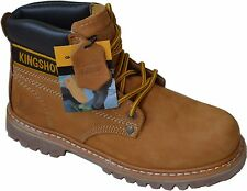 Men's Saftey Oil resistant work Boot Heavy Duty Waterproof Genuine Leather Tan