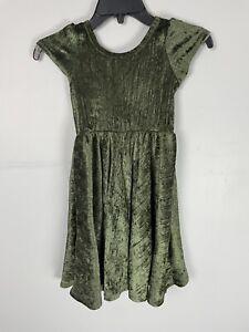 LulaRoe Dot Dot Smile Twirl Dress USA Green Crushed Velvet 8/10
