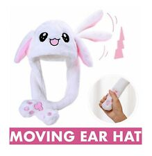 Boys Girls Kids Adults white Bunny MOVING EAR plush Animal hat-Funny moving Gift