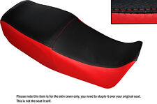 BRIGHT RED & BLACK CUSTOM FITS SUZUKI GS 450 E DUAL LEATHER SEAT COVER ONLY