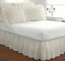 Ivory Bed Skirt King Size Dust Ruffle Eyelet 14 Inch Drop Cotton Poly Blend New