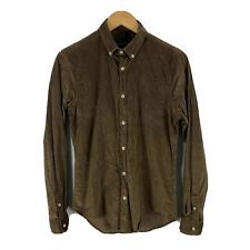 Zara Mens Corduroy Shirt Button Up Size Small Slim Brown Long Sleeve Collared