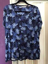 Ladies blue flower print t-shirt / top sz 24 George