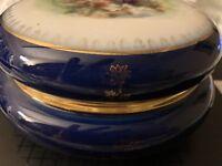Limoges Blue Porcelain Cobalt Decorative  Gold Trimming Mark From The Back