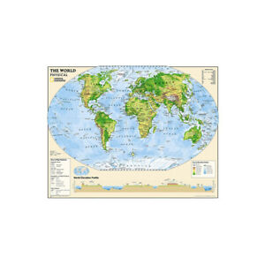 WORLD MAP PHYSICAL MAP LARGE POSTER ART PRINT SIZE 59*39in
