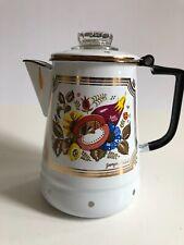 00004000 Georges Briard Enamel Coffee Pot Mcm Vtg Percolator