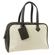HERMES VICTORIA 36 Travel Hand Bag Beige Gray Toile H Taurillon Clemence JT09279