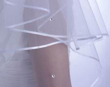 """Veil wedding veil ivory 2-Tier satin edged with crystal,32"""" waist elbow length"""