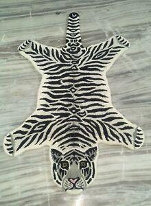 White Tiger Rug Nonslip Area Rug Wall hanging Animal Skin Carpet 3x5 Ft DN-2119