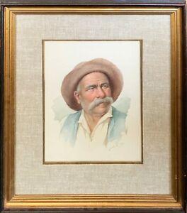 """De Luca Original Watercolor """"Old Man"""" in Perfect Condition!"""