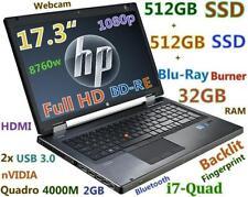 17.3 3D-Design FHD HP 8760W i7-2820QM BD-RE TWO SSD 2x512GB 32GB Quadro 4000M