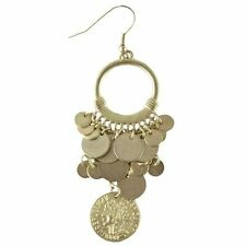 Gold Coin Gypsy Princess Earrings Pirate Goddess Roman Costume Jewelry Accessory