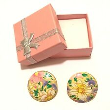 Ladies Handmade Button Earrings, Yellow Flower Trendy Fashion Multicolour Design