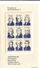 U.S.A 1986 U.S présidents quatre mini feuilles SG 2223 A-B-C-D Set 4 neuf sans charnière.