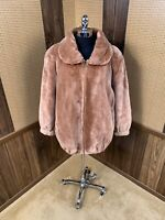 MADE IN CANADA CARAMEL BROWN DYED SHEARED BEAVER FUR COAT JACKET LARGE 10 - 12