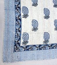 Boota Print Kantha Bedcover Hand Block Anitique Gudri Bedspread Cotton Blanket