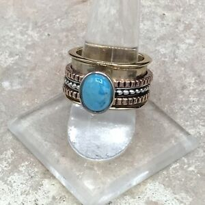 Barse Spinner Ring-Mixed Metal & Turquoise- 7.75- NWT