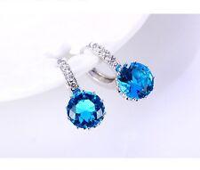 Sterling Silver Blue Sapphire Diamonique Topaz Stud Hood Earrings Gift Box K37