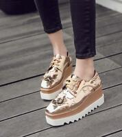 Women Square Toe Mid Wedge Platform Lace Up Creepers Casual Shoes Clunky Sneaker